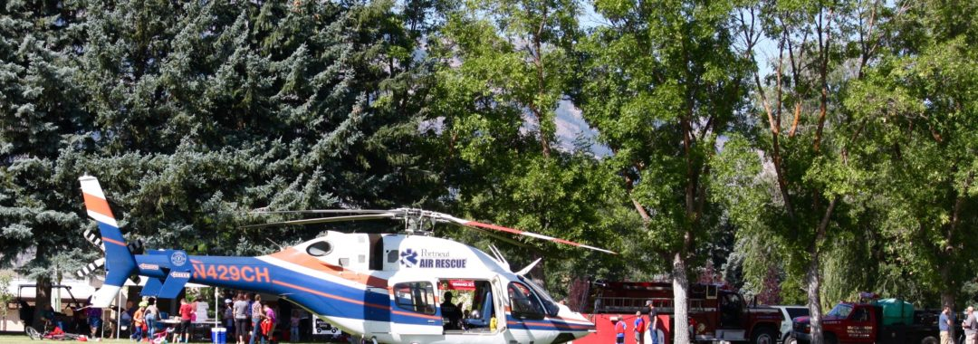 Bike Rodeo and Safety Day 2019, Portneuf Air Rescue lands in McCammon Ball Field